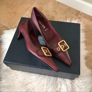 NWT Prada Gold Buckle Red Leather Pumps Shoes 37